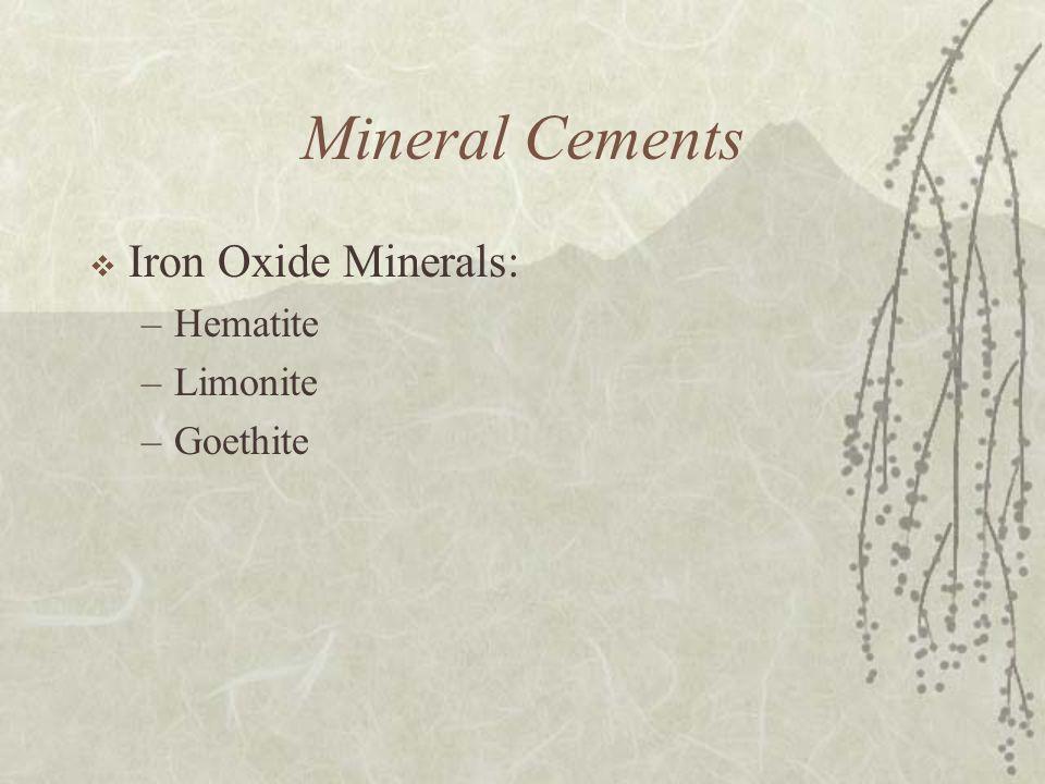 Mineral Cements  Iron Oxide Minerals: –Hematite –Limonite –Goethite