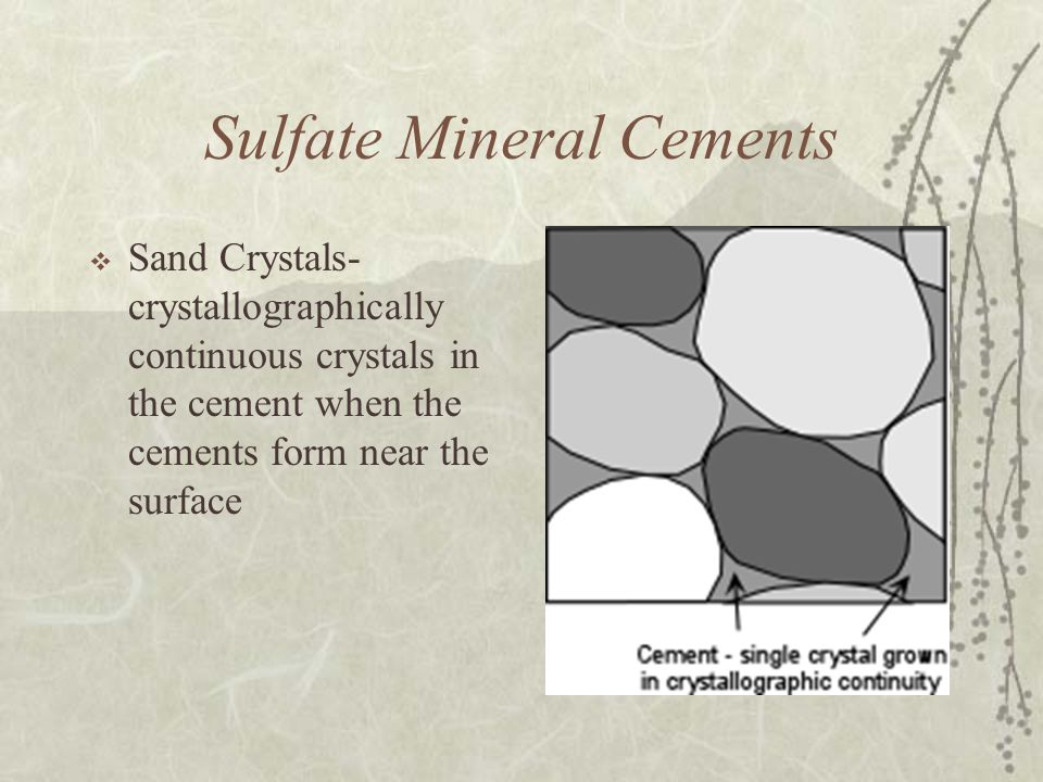Sulfate Mineral Cements  Sand Crystals- crystallographically continuous crystals in the cement when the cements form near the surface