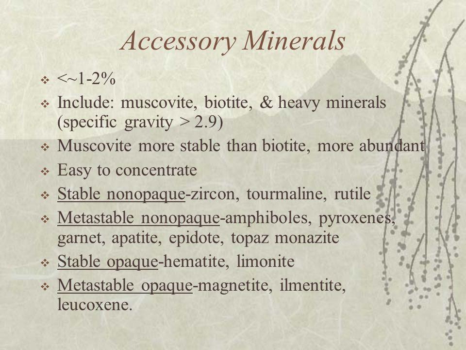 Accessory Minerals  <~1-2%  Include: muscovite, biotite, & heavy minerals (specific gravity > 2.9)  Muscovite more stable than biotite, more abundant  Easy to concentrate  Stable nonopaque-zircon, tourmaline, rutile  Metastable nonopaque-amphiboles, pyroxenes, garnet, apatite, epidote, topaz monazite  Stable opaque-hematite, limonite  Metastable opaque-magnetite, ilmentite, leucoxene.