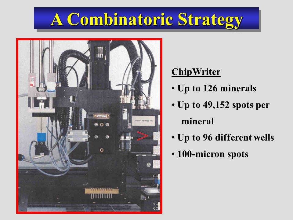 A Combinatoric Strategy ChipWriter Up to 126 minerals Up to 49,152 spots per mineral Up to 96 different wells 100-micron spots