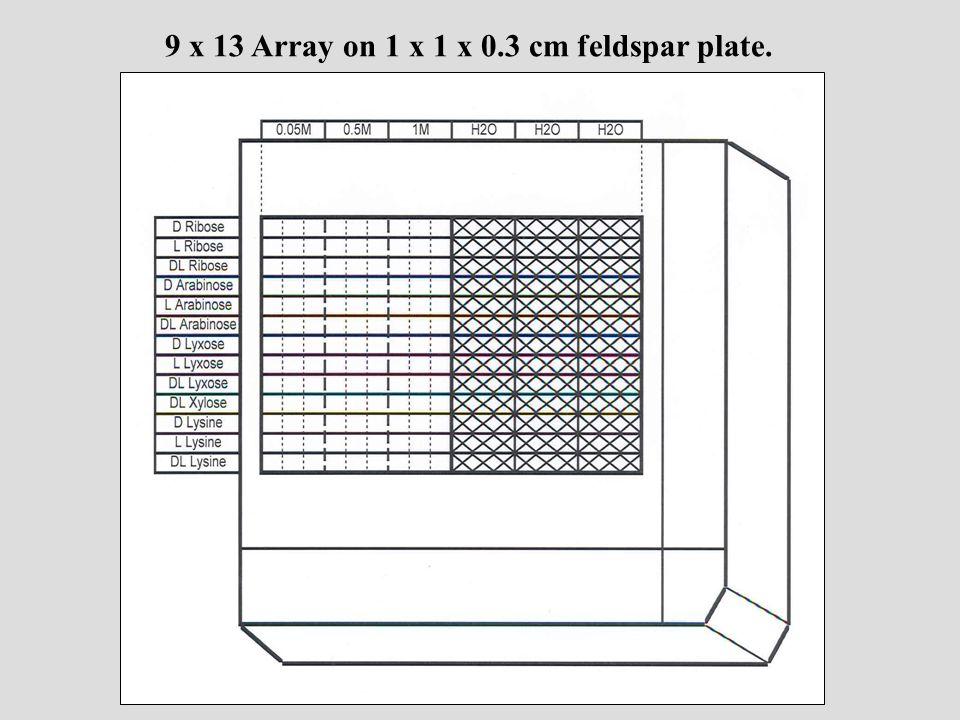 9 x 13 Array on 1 x 1 x 0.3 cm feldspar plate.