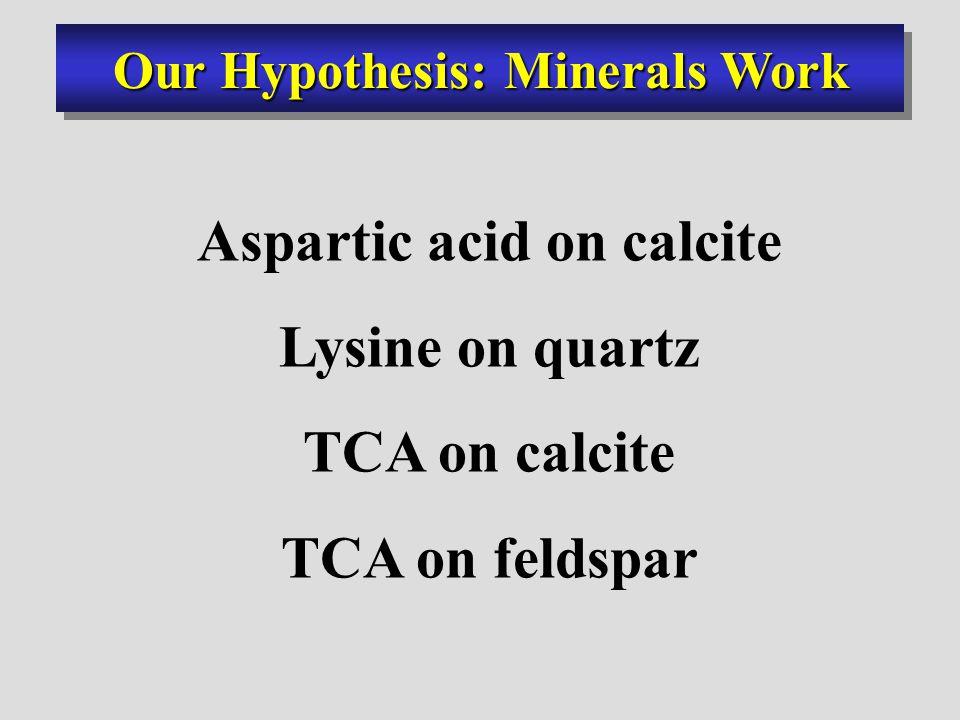 Aspartic acid on calcite Lysine on quartz TCA on calcite TCA on feldspar