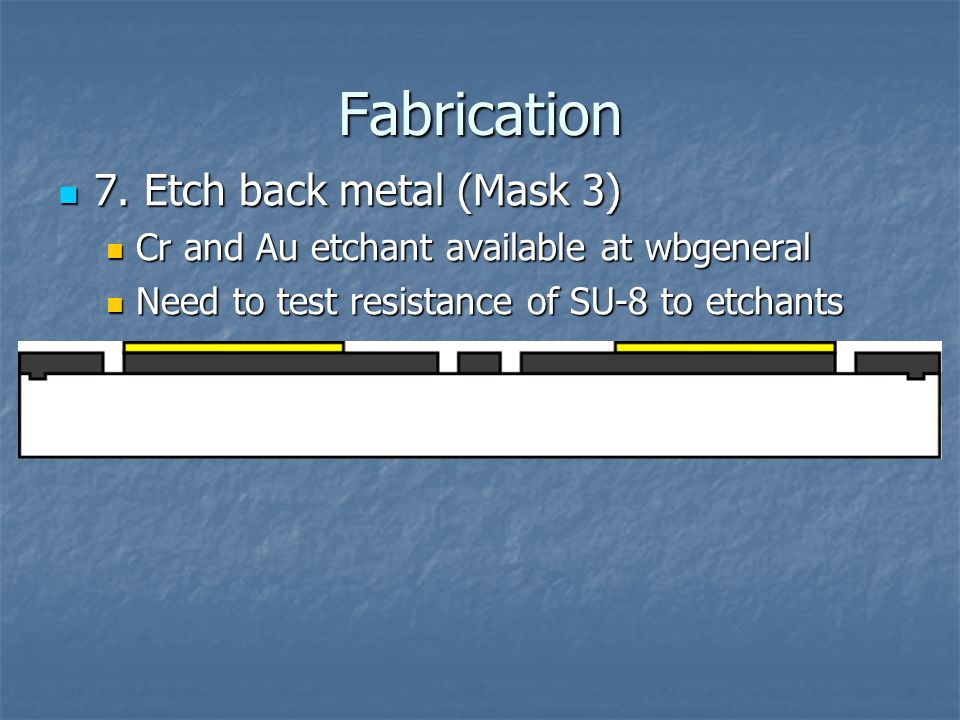 Fabrication 7. Etch back metal (Mask 3) 7. Etch back metal (Mask 3) Cr and Au etchant available at wbgeneral Cr and Au etchant available at wbgeneral