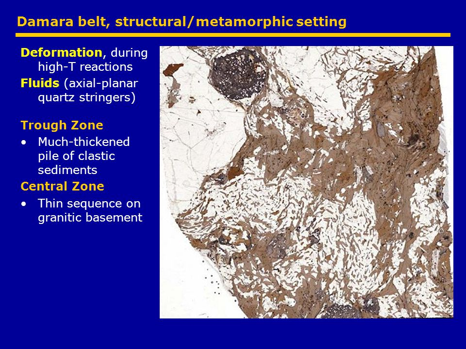 Damara belt, structural/metamorphic setting Deformation, during high-T reactions Fluids (axial-planar quartz stringers) Trough Zone Much-thickened pile of clastic sediments Central Zone Thin sequence on granitic basement