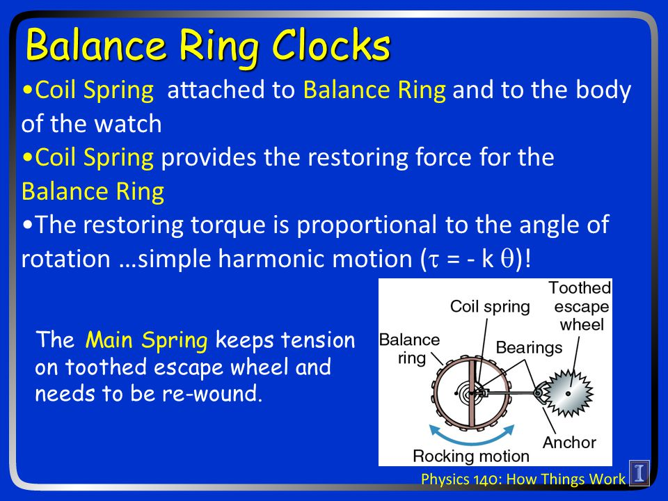 The Main Spring keeps tension on toothed escape wheel and needs to be re-wound.