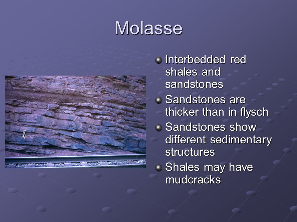 Molasse Interbedded red shales and sandstones Sandstones are thicker than in flysch Sandstones show different sedimentary structures Shales may have mudcracks