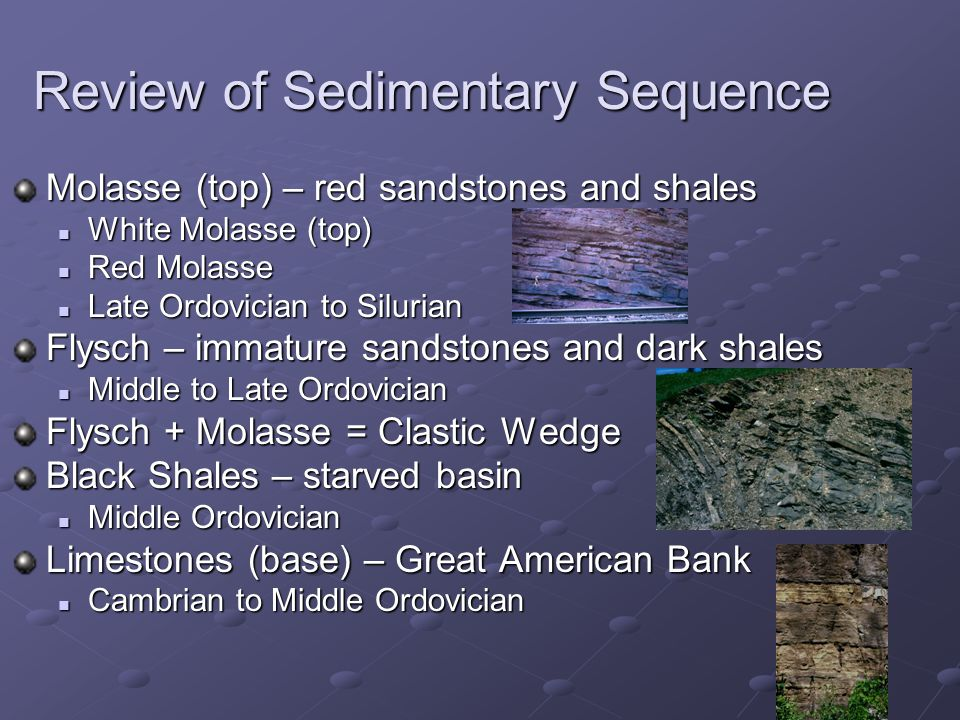 Review of Sedimentary Sequence Molasse (top) – red sandstones and shales White Molasse (top) White Molasse (top) Red Molasse Red Molasse Late Ordovician to Silurian Late Ordovician to Silurian Flysch – immature sandstones and dark shales Middle to Late Ordovician Middle to Late Ordovician Flysch + Molasse = Clastic Wedge Black Shales – starved basin Middle Ordovician Middle Ordovician Limestones (base) – Great American Bank Cambrian to Middle Ordovician Cambrian to Middle Ordovician
