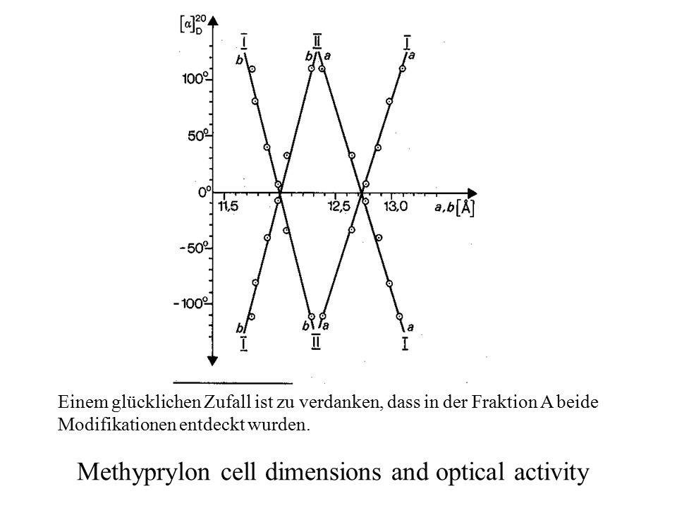 Methyprylon cell dimensions and optical activity Einem glücklichen Zufall ist zu verdanken, dass in der Fraktion A beide Modifikationen entdeckt wurden.