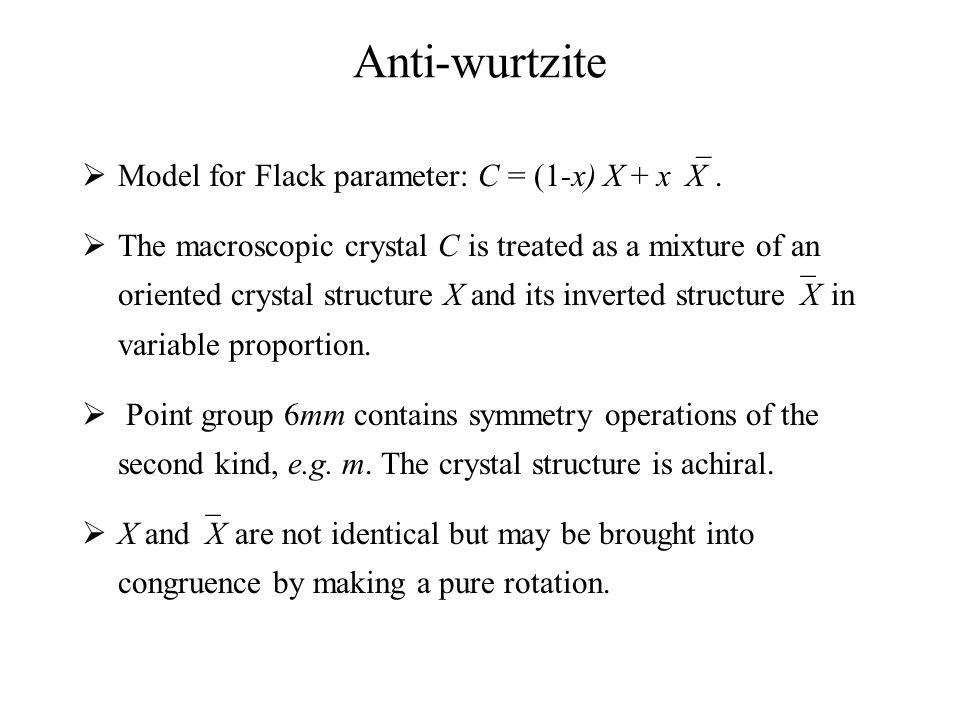 Anti-wurtzite  Model for Flack parameter: C = (1-x) X + x  X.