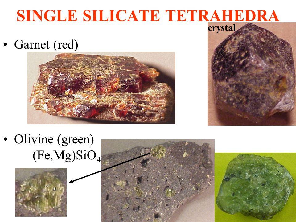 SINGLE SILICATE TETRAHEDRA Garnet (red) Olivine (green) (Fe,Mg)SiO 4 crystal