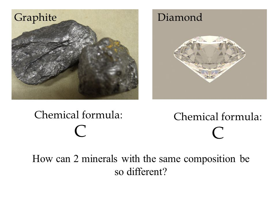 Chemical formula: C GraphiteDiamond How can 2 minerals with the same composition be so different?