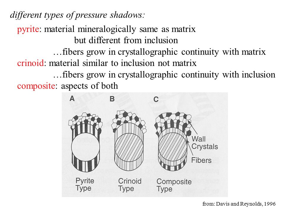 different types of pressure shadows: pyrite: material mineralogically same as matrix but different from inclusion …fibers grow in crystallographic continuity with matrix crinoid: material similar to inclusion not matrix …fibers grow in crystallographic continuity with inclusion composite: aspects of both from: Davis and Reynolds, 1996