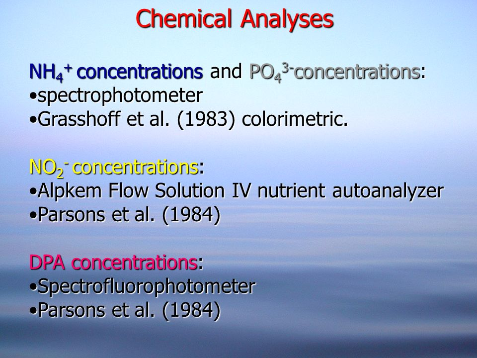 Chemical Analyses NH 4 + concentrations and PO 4 3- concentrations: spectrophotometerspectrophotometer Grasshoff et al. (1983) colorimetric.Grasshoff