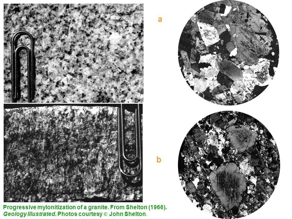 a b Progressive mylonitization of a granite. From Shelton (1966).