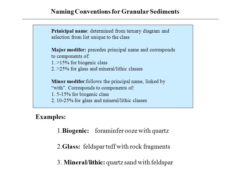 Naming Conventions for Granular Sediments Prinicipal name: determined from ternary diagram and selection from list unique to the class Major modifer: precedes principal name and corresponds to components of: 1.