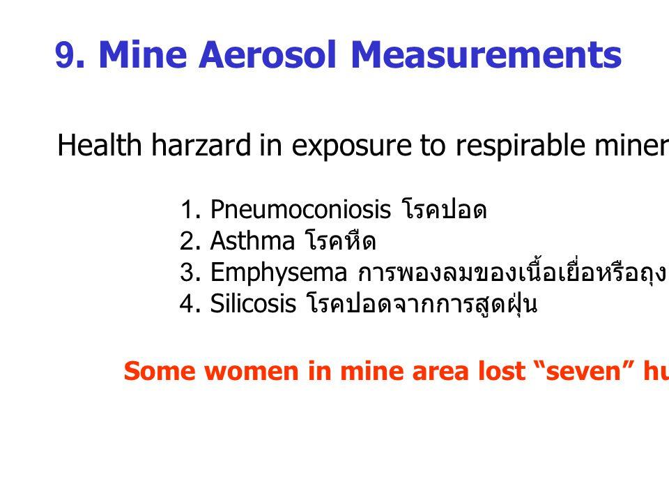 9.Mine Aerosol Measurements Health harzard in exposure to respirable mineral aerosol: 1.
