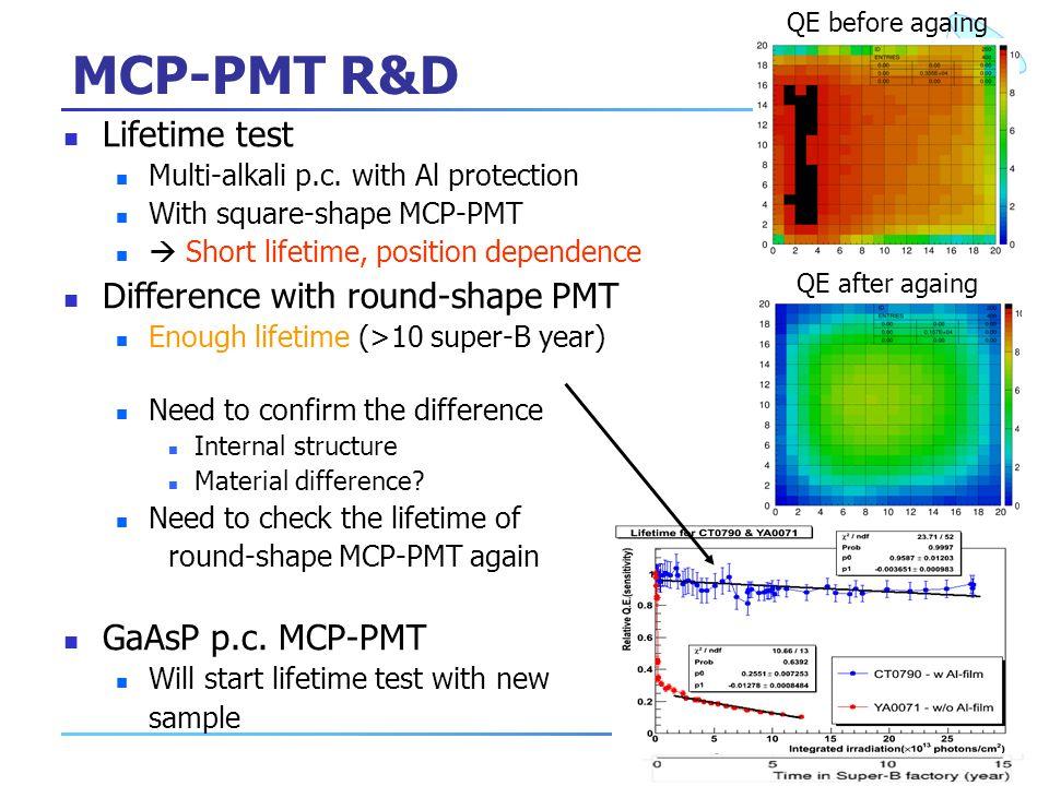 10 MCP-PMT R&D Lifetime test Multi-alkali p.c.