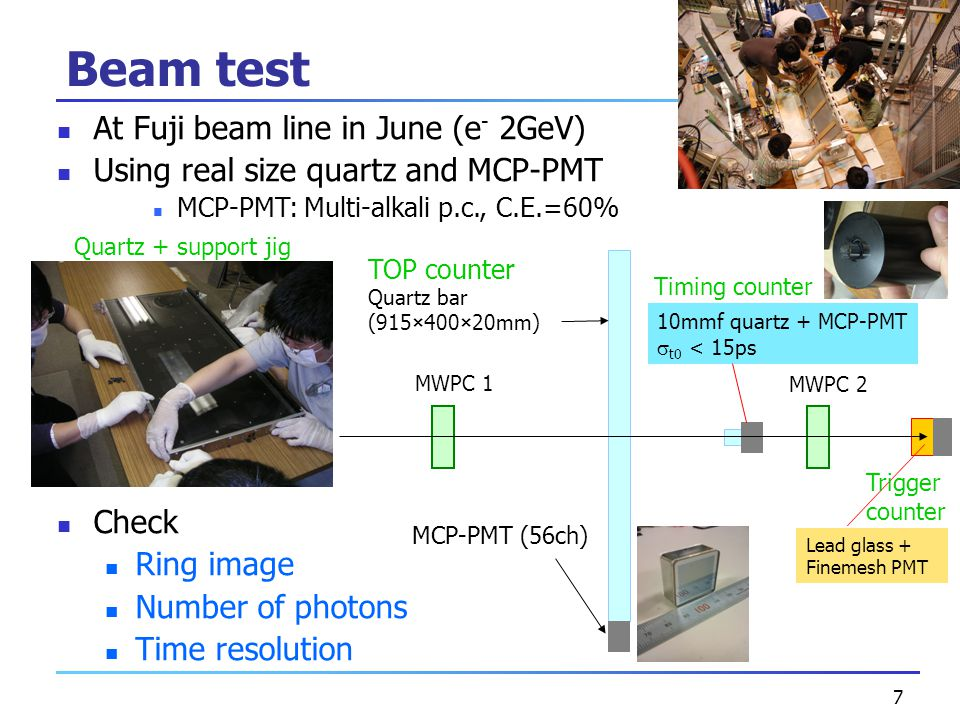 7 At Fuji beam line in June (e - 2GeV) Using real size quartz and MCP-PMT MCP-PMT: Multi-alkali p.c., C.E.=60% Check Ring image Number of photons Time resolution Beam test MWPC 1 MWPC 2 Lead glass + Finemesh PMT Timing counter 10mmf quartz + MCP-PMT  t0 < 15ps MCP-PMT (56ch) TOP counter Quartz bar (915×400×20mm) Trigger counter Quartz + support jig