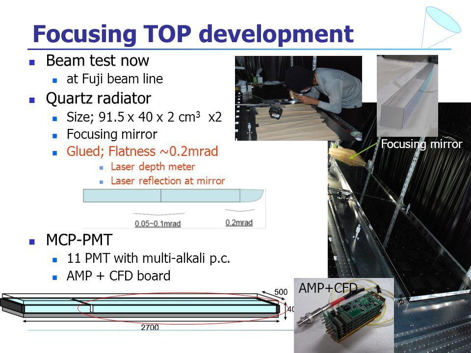 9 Focusing TOP development Beam test now at Fuji beam line Quartz radiator Size; 91.5 x 40 x 2 cm 3 x2 Focusing mirror Glued; Flatness ~0.2mrad Laser depth meter Laser reflection at mirror MCP-PMT 11 PMT with multi-alkali p.c.