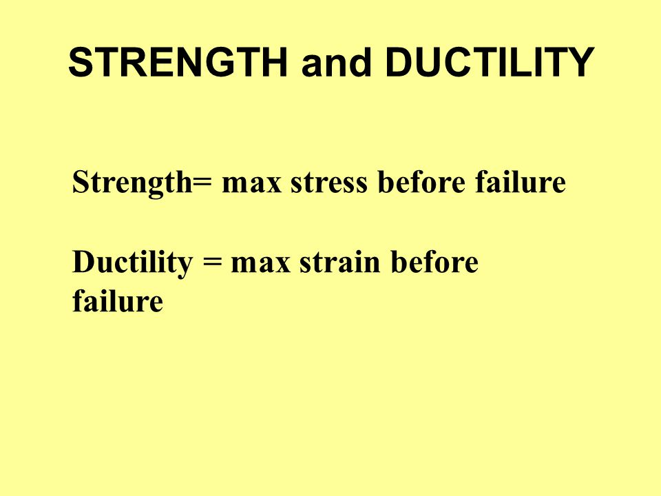 STRENGTH and DUCTILITY Strength= max stress before failure Ductility = max strain before failure