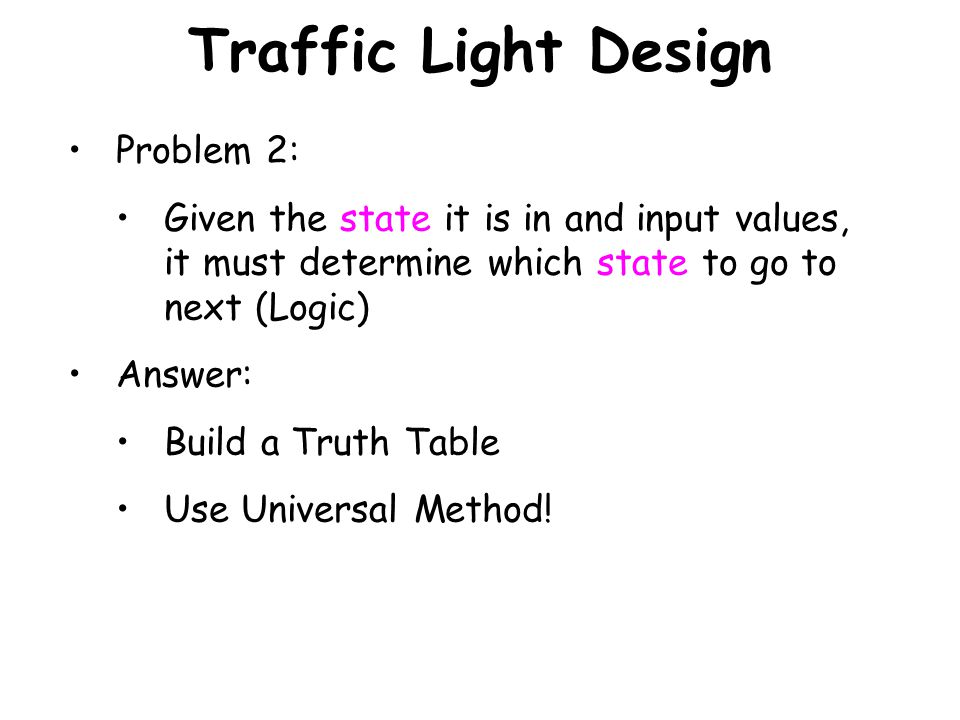 Traffic Light Design Problem 2: Given the state it is in and input values, it must determine which state to go to next (Logic) Answer: