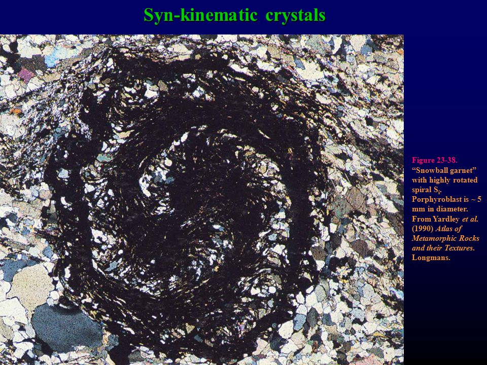 "Syn-kinematic crystals Figure 23-38. ""Snowball garnet"" with highly rotated spiral S i. Porphyroblast is ~ 5 mm in diameter. From Yardley et al. (1990)"