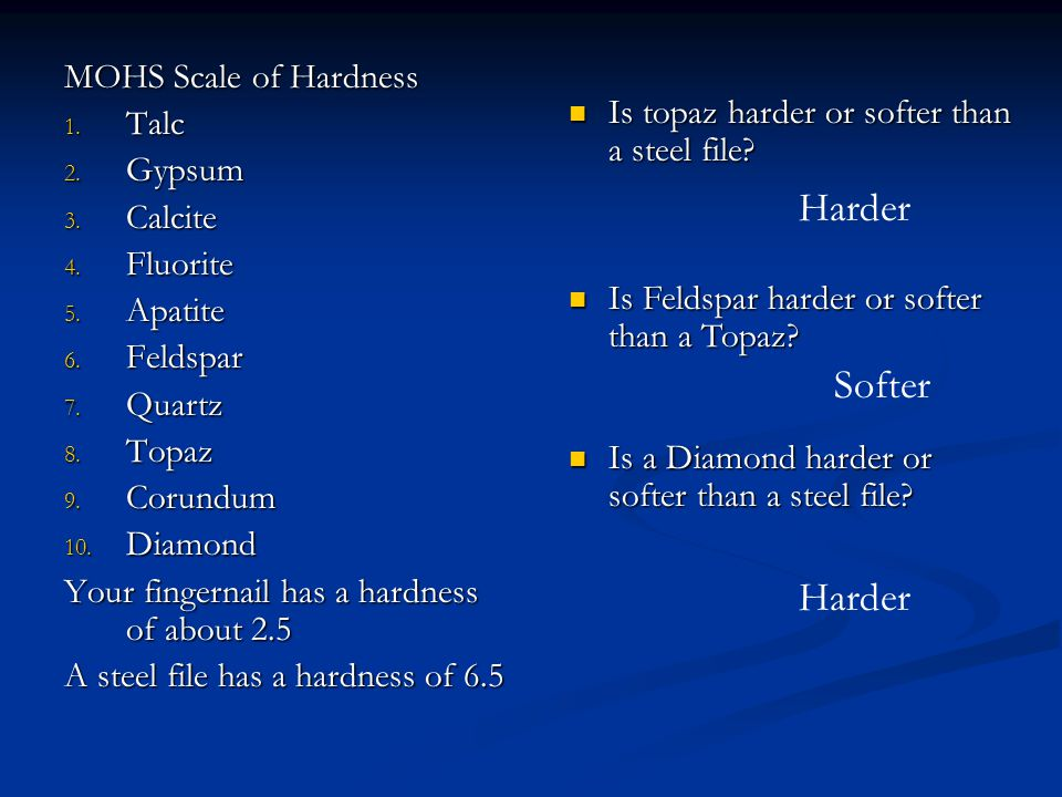 Is a Diamond harder or softer than a steel file? MOHS Scale of Hardness 1. Talc 2. Gypsum 3. Calcite 4. Fluorite 5. Apatite 6. Feldspar 7. Quartz 8. T