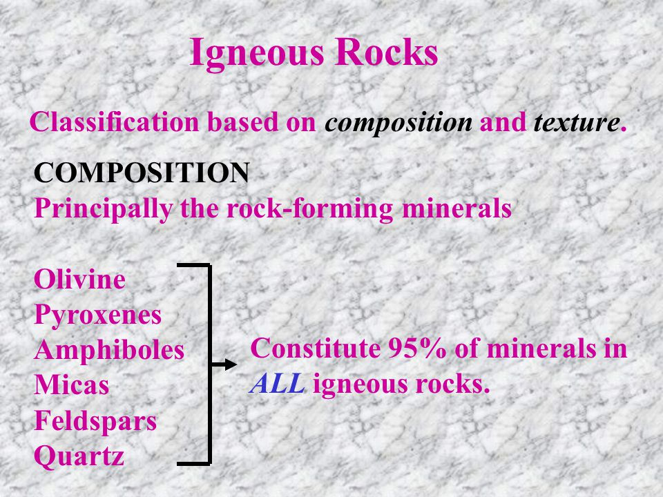 Igneous Rocks Classification based on composition and texture. COMPOSITION Principally the rock-forming minerals Olivine Pyroxenes Amphiboles Micas Fe