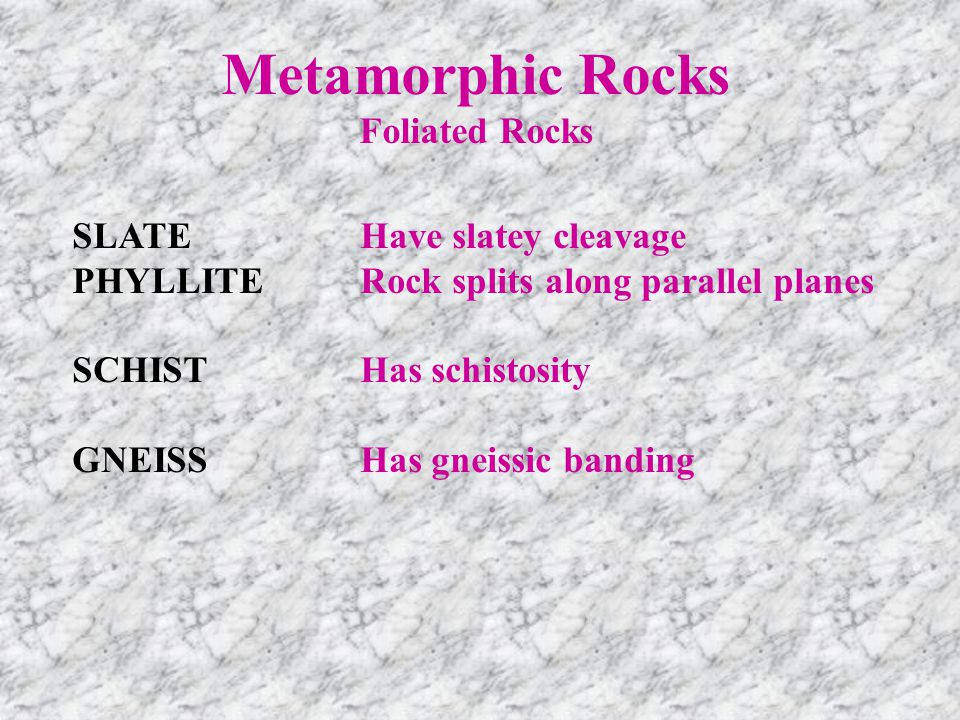 Metamorphic Rocks Foliated Rocks SLATEHave slatey cleavage PHYLLITERock splits along parallel planes SCHISTHas schistosity GNEISSHas gneissic banding