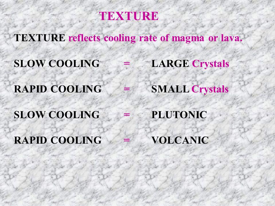TEXTURE Types of Textures Phaneritic Large crystals > 2 mm Slow cooling rate=Plutonic Granite, Diorite, Gabbro LightGrayDark FelsicIntermediateMafic