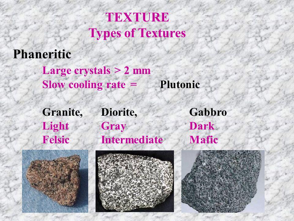 TEXTURE Types of Textures Aphanitic Small crystals < 2 mm Fast cooling rate=Volcanic Rhyolite, Andesite, Massive Basalt FelsiteScoria LightGrayDark FelsicIntermediateMafic