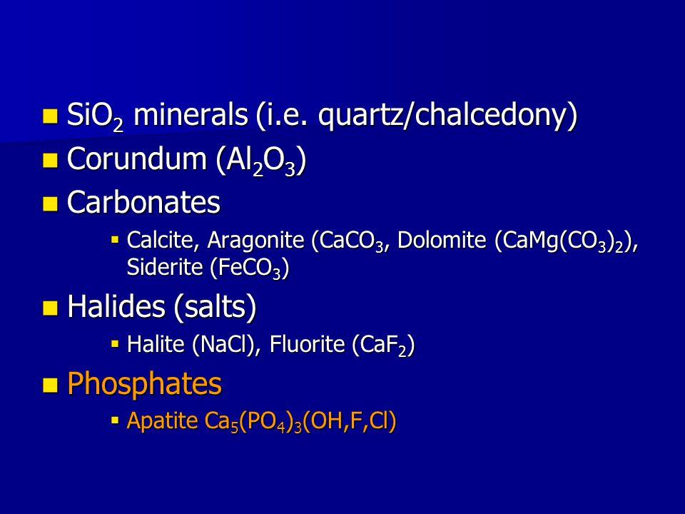 SiO 2 minerals (i.e. quartz/chalcedony) SiO 2 minerals (i.e.