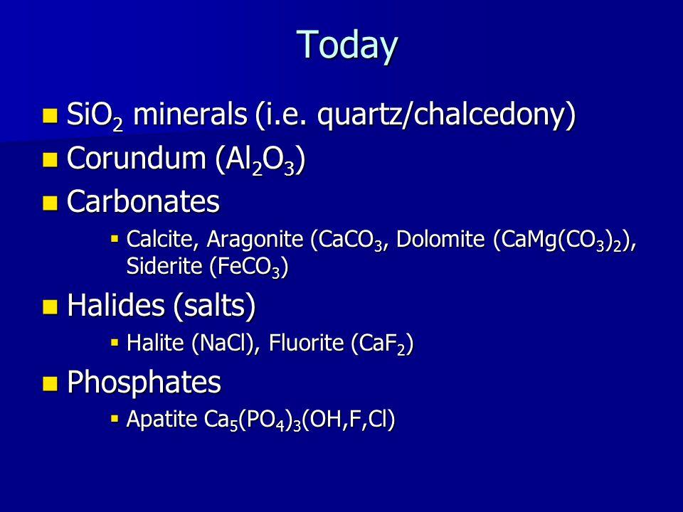 Today SiO 2 minerals (i.e. quartz/chalcedony) SiO 2 minerals (i.e.
