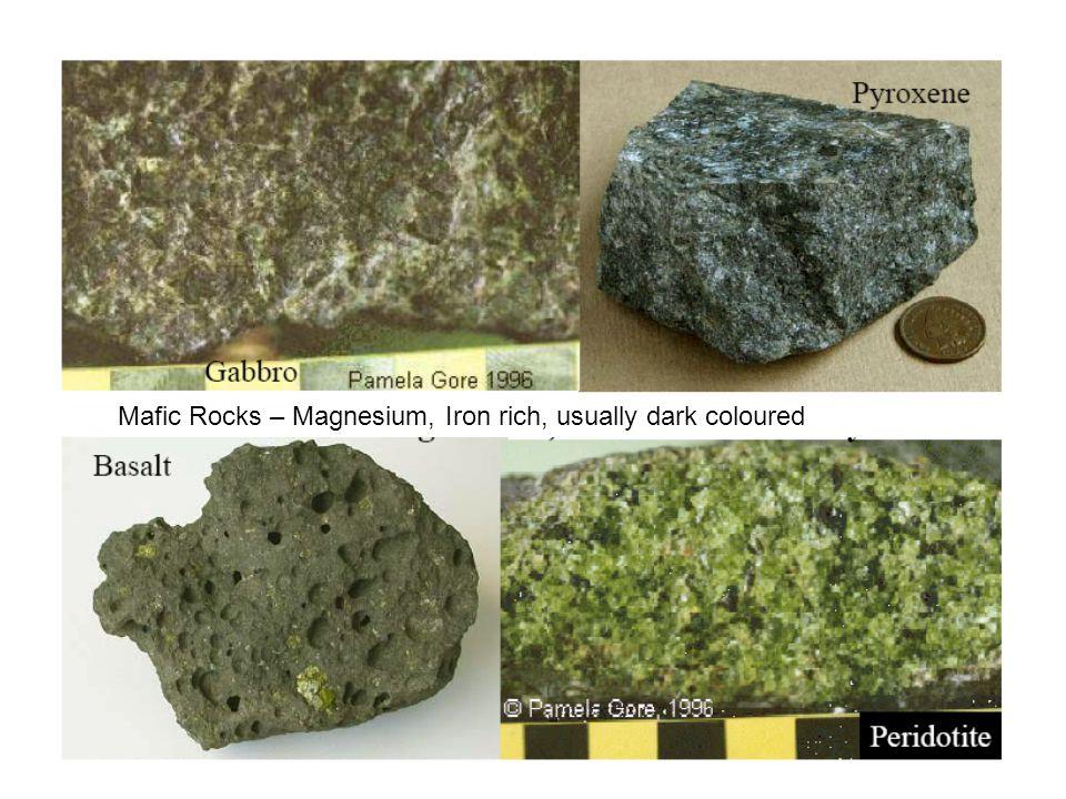 Mafic Rocks – Magnesium, Iron rich, usually dark coloured