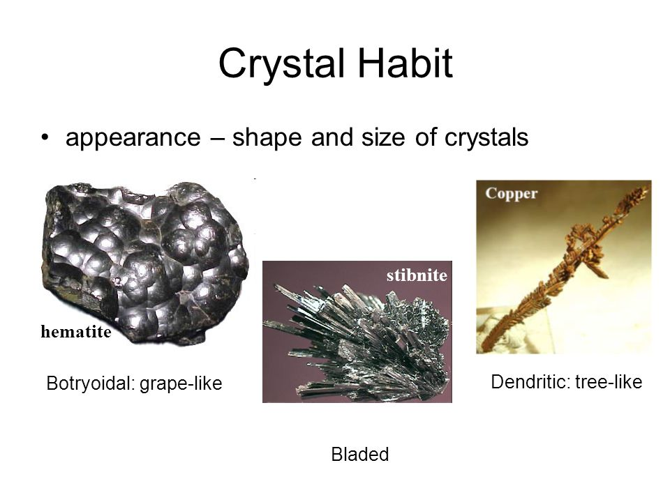 Crystal Habit appearance – shape and size of crystals Botryoidal: grape-like Bladed Dendritic: tree-like stibnite hematite