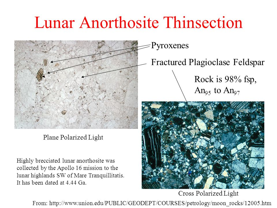 Lunar Anorthosite Thinsection From: http://www.union.edu/PUBLIC/GEODEPT/COURSES/petrology/moon_rocks/12005.htm Cross Polarized Light Plane Polarized L