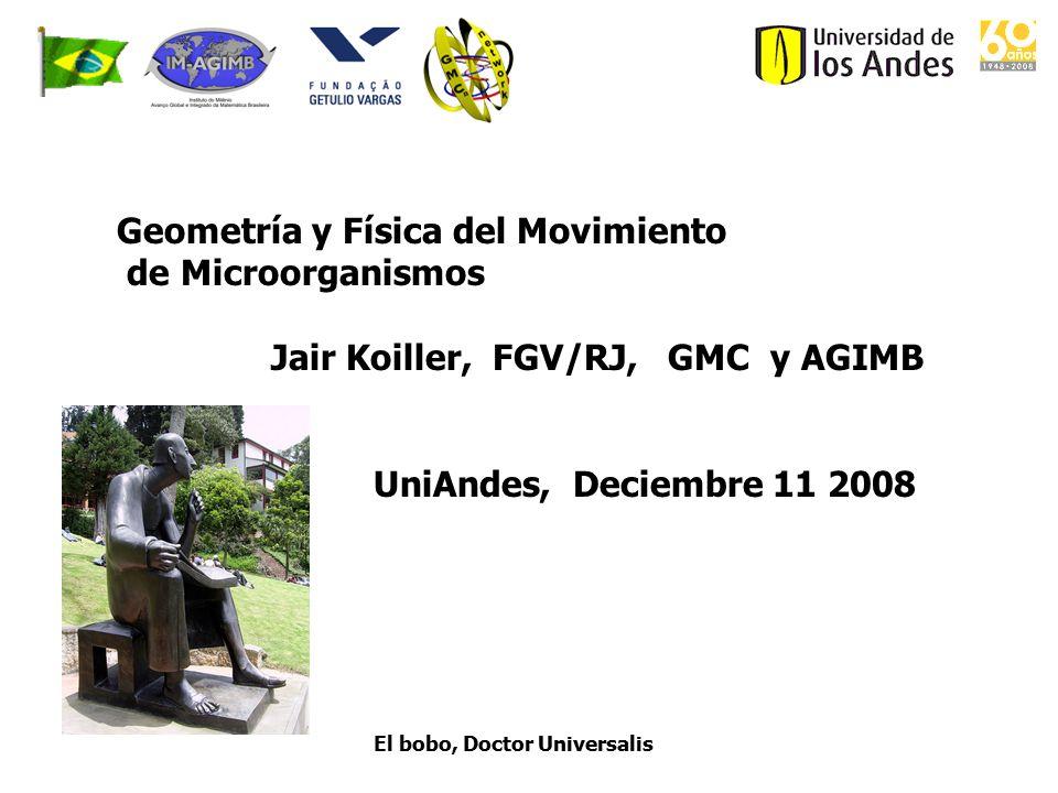 Geometría y Física del Movimiento de Microorganismos Jair Koiller, FGV/RJ, GMC y AGIMB UniAndes, Deciembre 11 2008 El bobo, Doctor Universalis