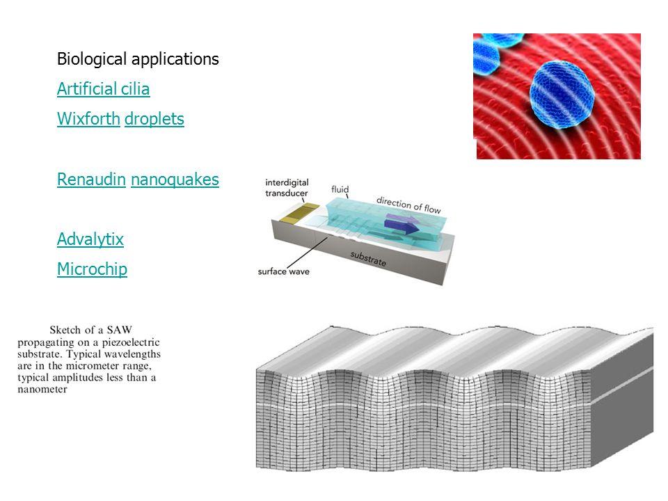 Biological applications Artificial cilia WixforthWixforth dropletsdroplets RenaudinRenaudin nanoquakesnanoquakes Advalytix Microchip