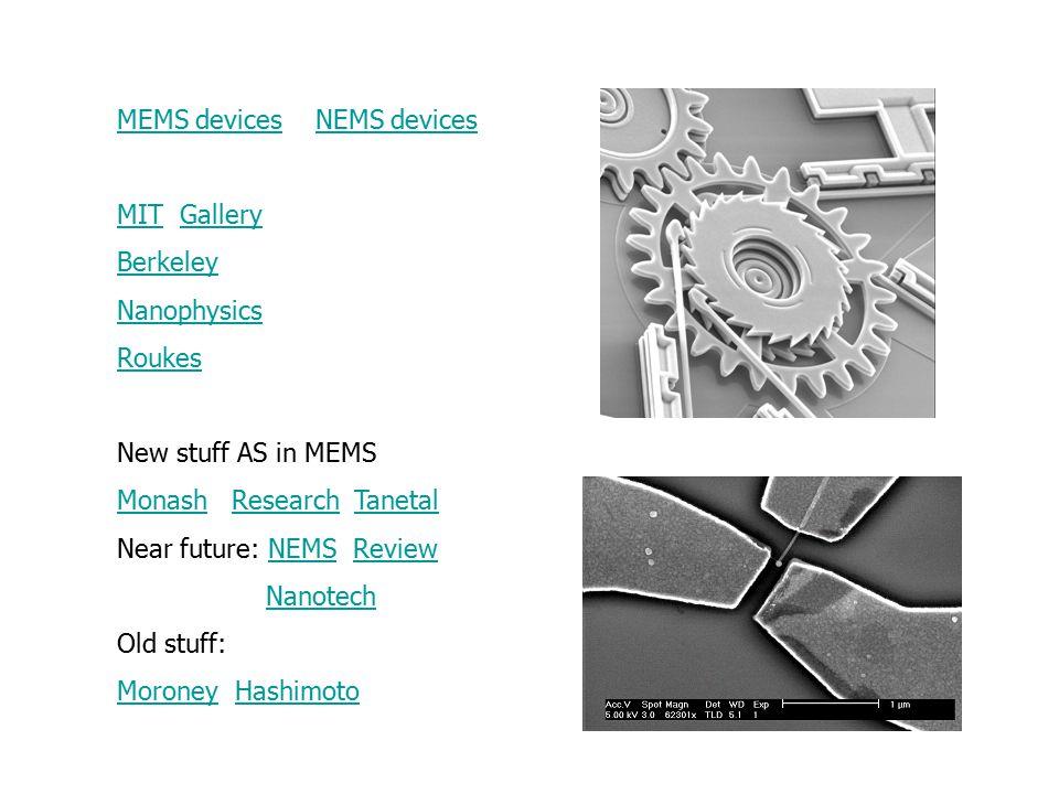 MEMS devicesMEMS devices NEMS devicesNEMS devices MITMIT GalleryGallery Berkeley Nanophysics Roukes New stuff AS in MEMS MonashMonash Research TanetalResearchTanetal Near future: NEMS ReviewNEMSReview Nanotech Old stuff: MoroneyMoroney HashimotoHashimoto