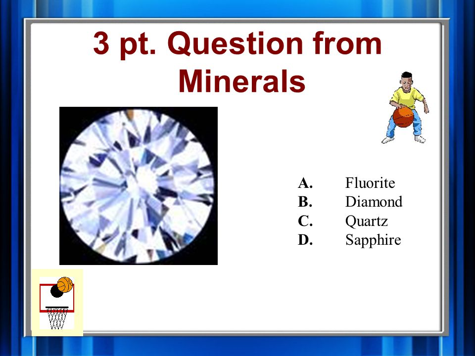 2 pt. Answer from Minerals B. Obsidian