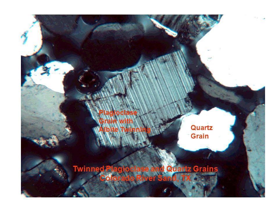 Twinned Plagioclase and Quartz Grains Colorado River Sand, TX Plagioclase Grain with Albite Twinning Quartz Grain