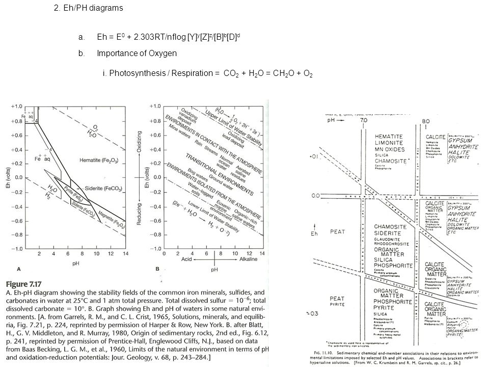 2. Eh/PH diagrams a.Eh = E 0 + 2.303RT/nflog [Y] y [Z] z /[B] b [D] d b.Importance of Oxygen i.