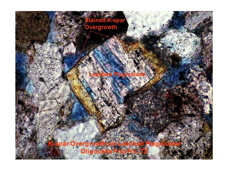 K-spar Overgrowth on Leached Plagioclase Oligocene Frio Fm, TX Leached Plagioclase Stained K-spar Overgrowth
