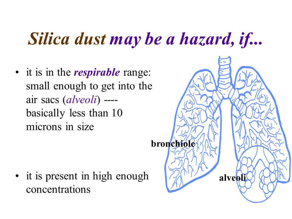 Silica dust may be a hazard, if...