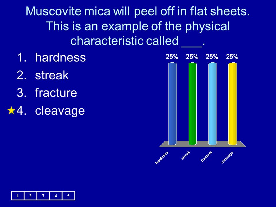 Muscovite mica will peel off in flat sheets. This is an example of the physical characteristic called ___. 12345 1.hardness 2.streak 3.fracture 4.clea
