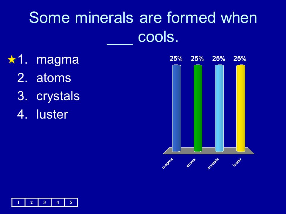 Some minerals are formed when ___ cools. 12345 1.magma 2.atoms 3.crystals 4.luster