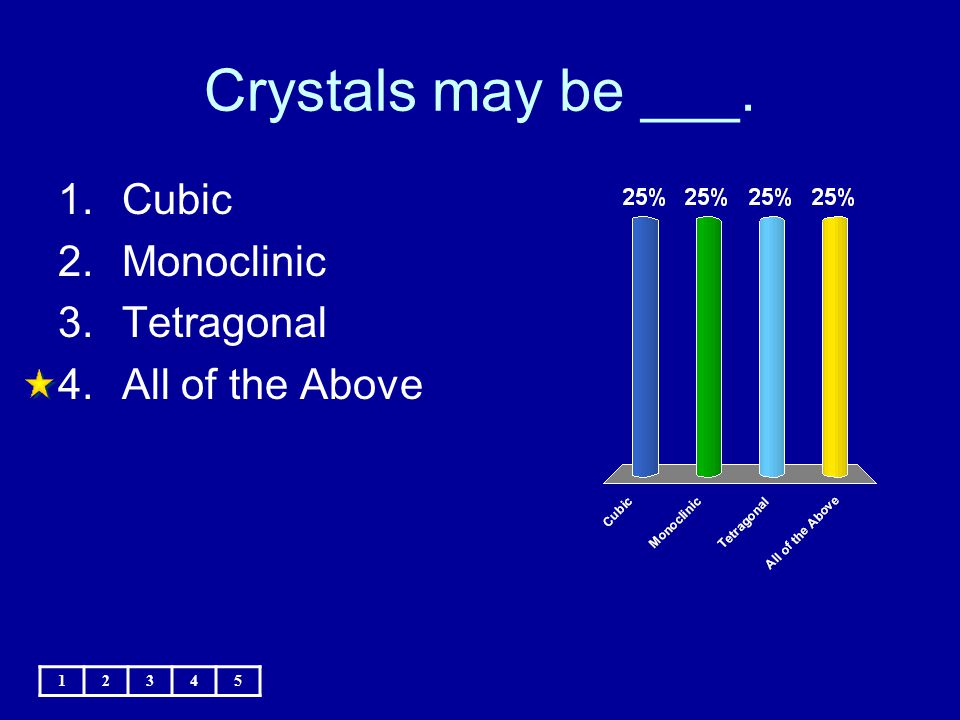 Crystals may be ___. 1.Cubic 2.Monoclinic 3.Tetragonal 4.All of the Above 12345