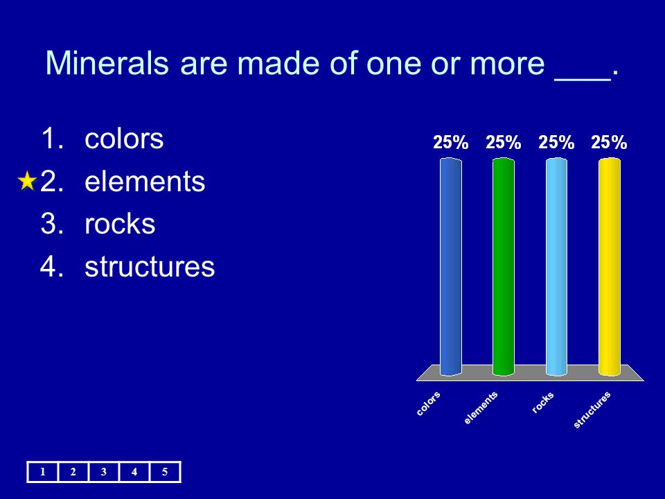Minerals are made of one or more ___. 12345 1.colors 2.elements 3.rocks 4.structures