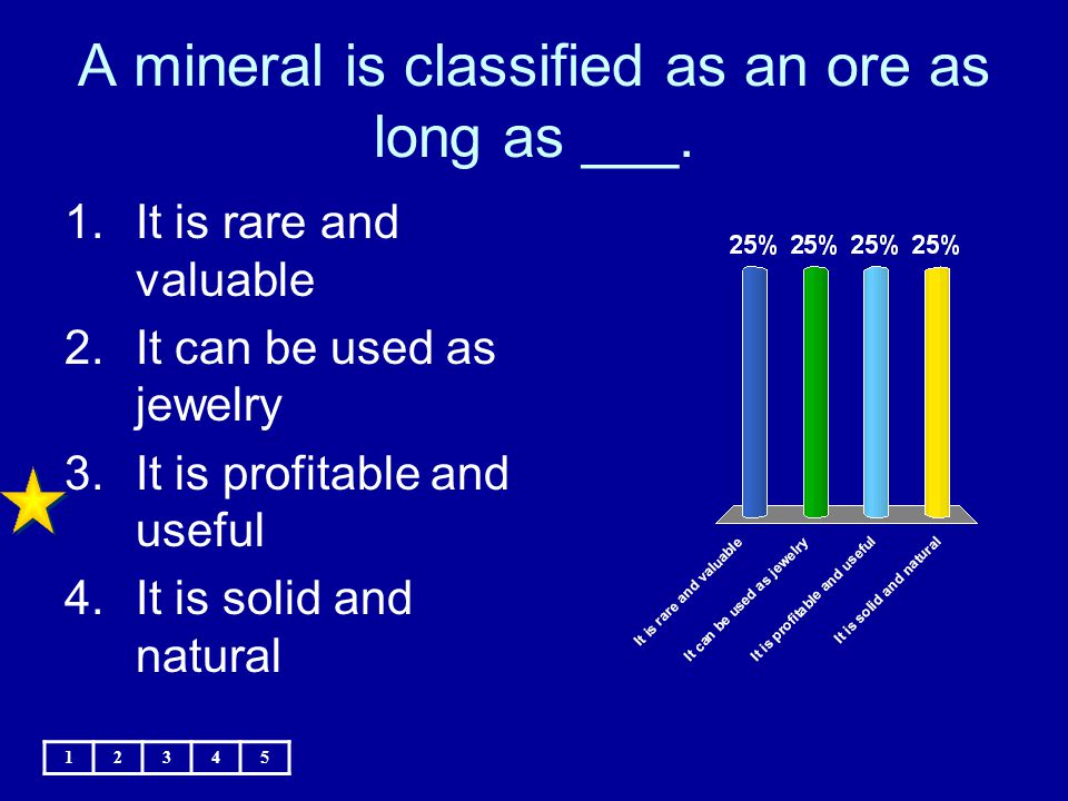 A mineral is classified as an ore as long as ___. 12345 1.It is rare and valuable 2.It can be used as jewelry 3.It is profitable and useful 4.It is so