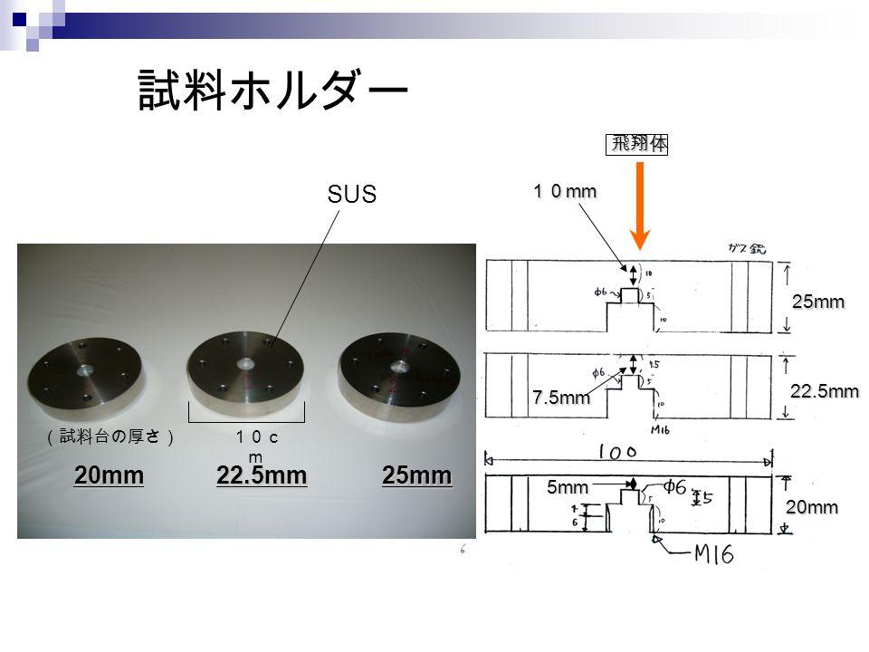 試料ホルダー 20mm22.5mm25mm 10c m (試料台の厚さ) SUS 飛翔体 20mm 22.5mm 25mm 10 mm 7.5mm 5mm